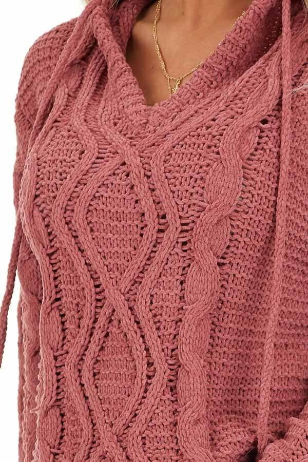 Dark Blush Cable Knit Hooded Sweater with Scalloped Hem detail