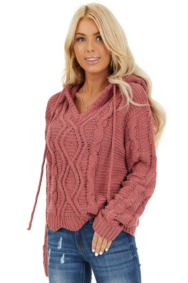 Dark Blush Cable Knit Hooded Sweater with Scalloped Hem front close up