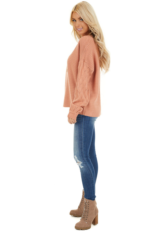 Salmon Ribbed Knit Pullover Sweater with Long Puff Sleeves side full body