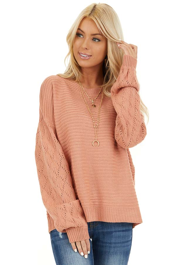 Salmon Ribbed Knit Pullover Sweater with Long Puff Sleeves front close up