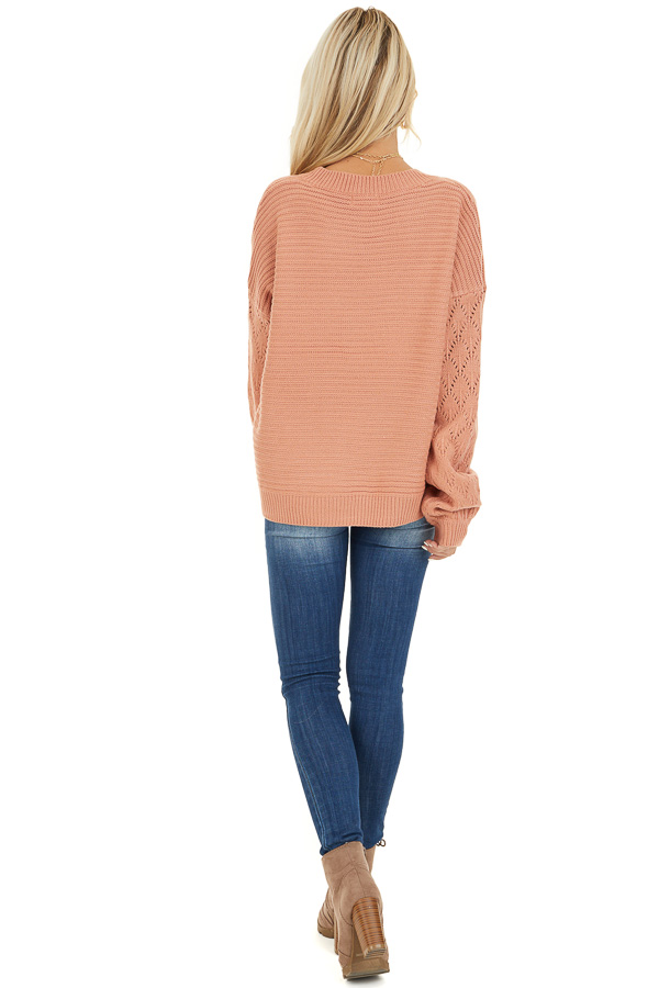 Salmon Ribbed Knit Pullover Sweater with Long Puff Sleeves back full body