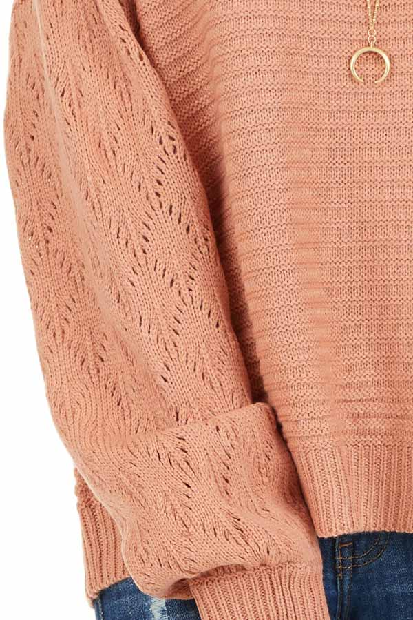 Salmon Ribbed Knit Pullover Sweater with Long Puff Sleeves detail