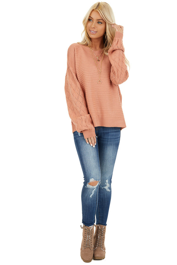 Salmon Ribbed Knit Pullover Sweater with Long Puff Sleeves front full body