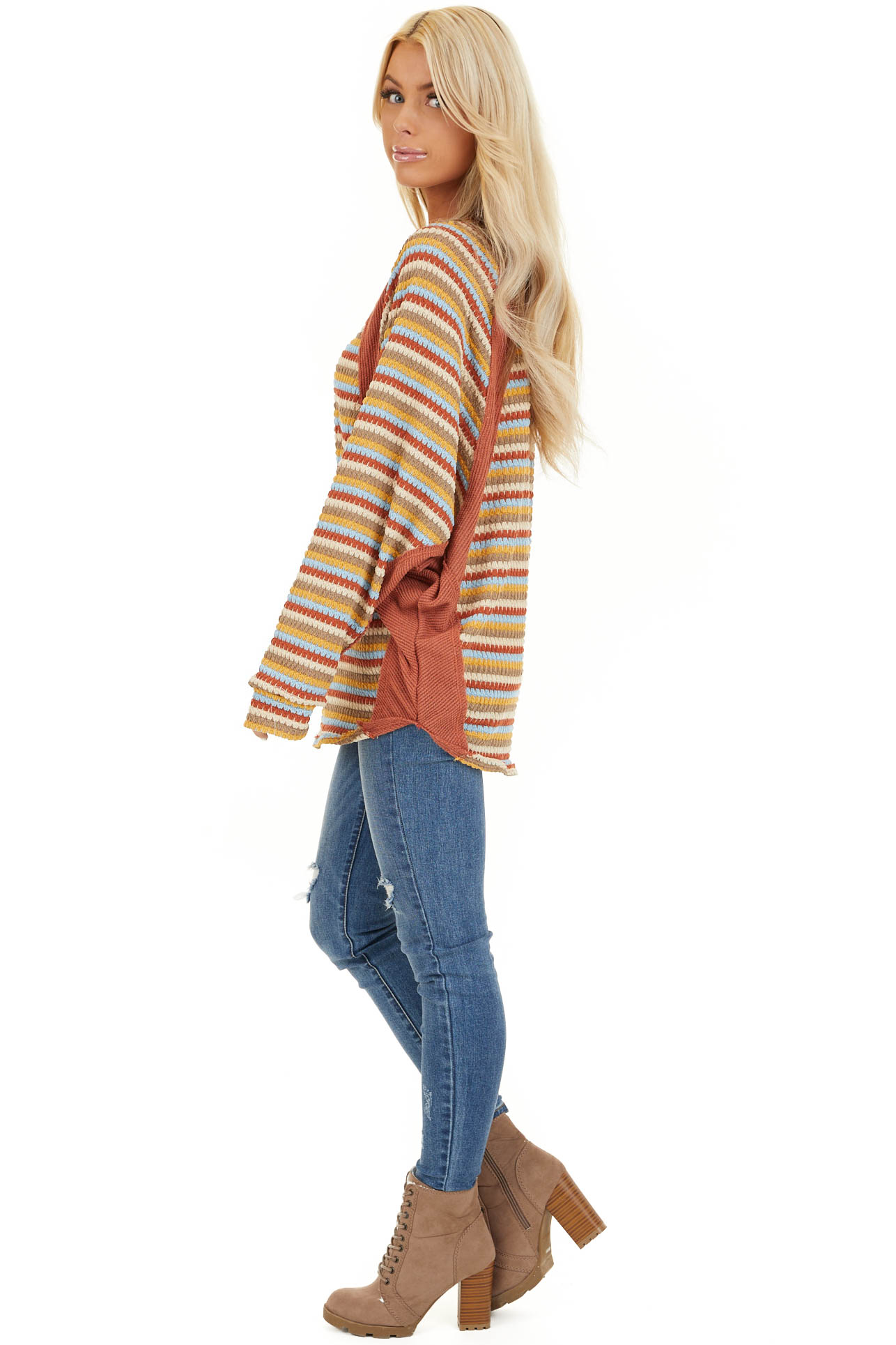 Burnt Orange Multicolor Striped Knit Top with Long Sleeves side full body