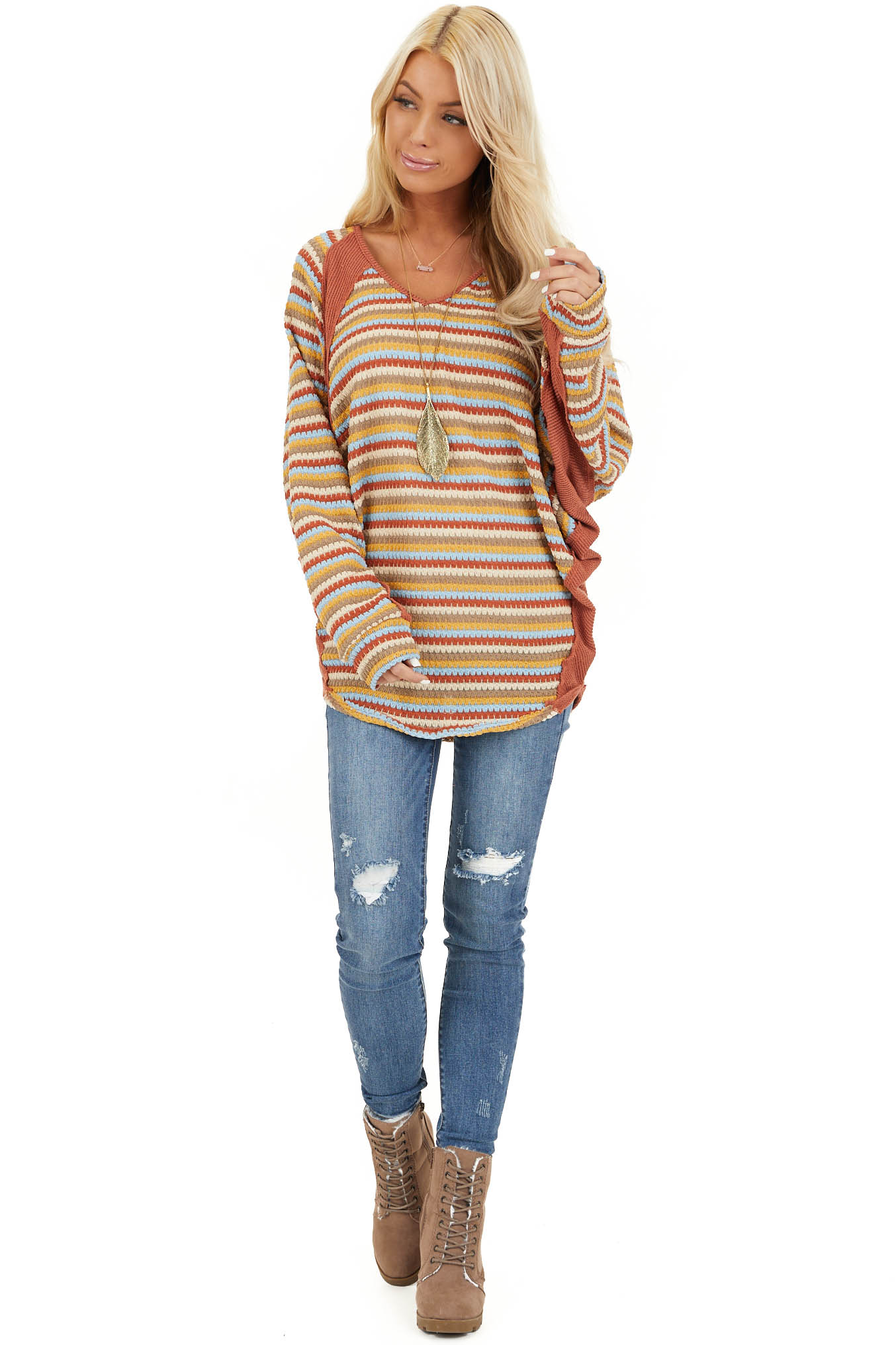Burnt Orange Multicolor Striped Knit Top with Long Sleeves front full body