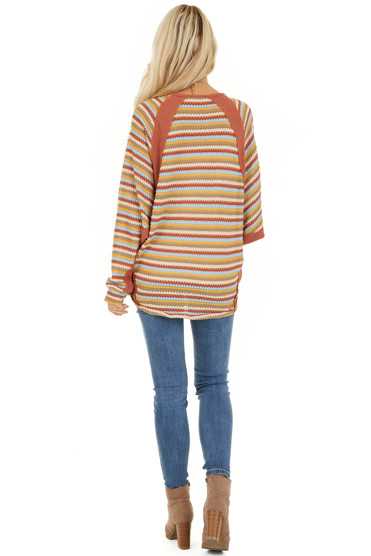 Burnt Orange Multicolor Striped Knit Top with Long Sleeves back full body