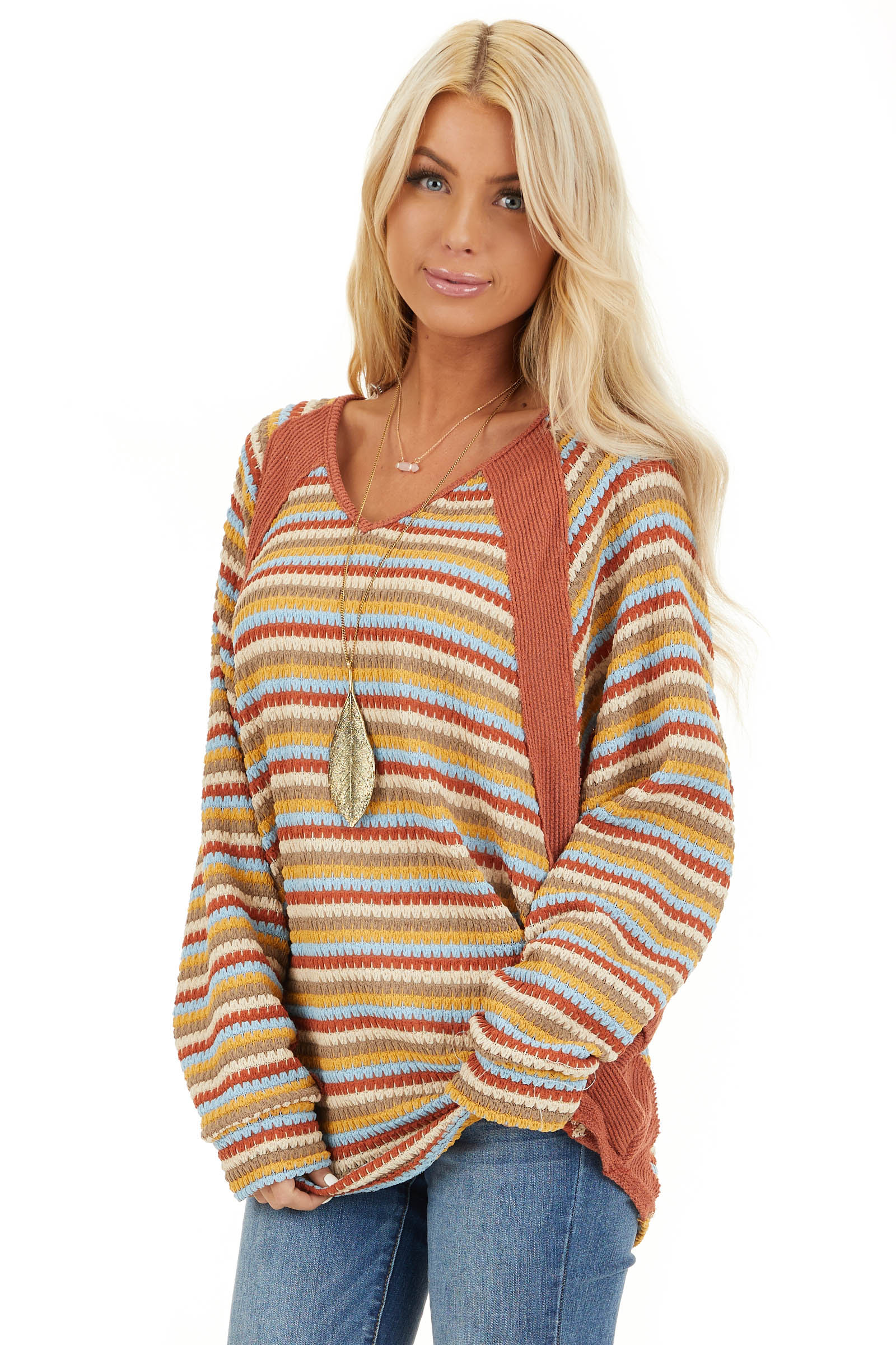 Burnt Orange Multicolor Striped Knit Top with Long Sleeves front close up