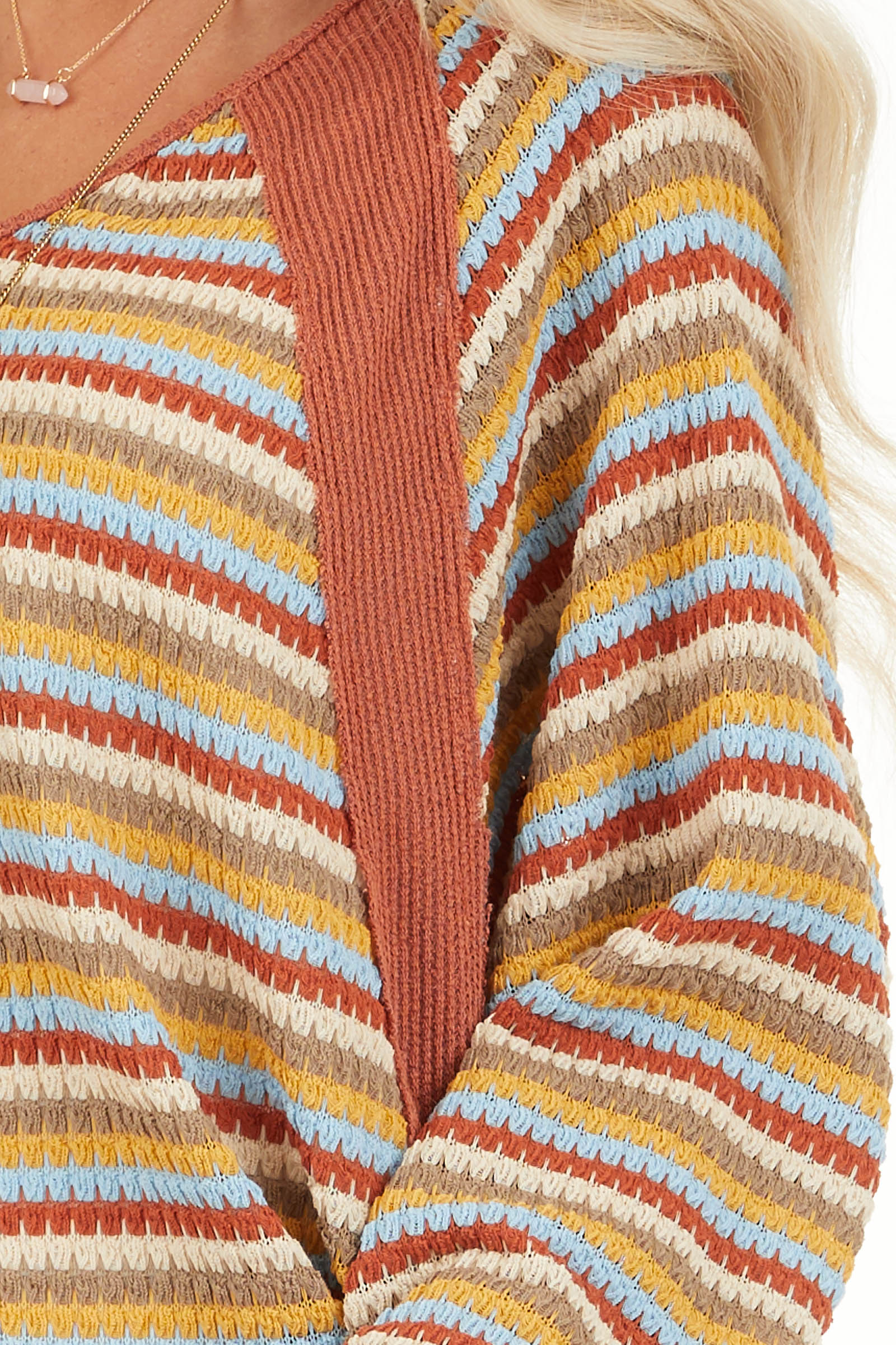 Burnt Orange Multicolor Striped Knit Top with Long Sleeves detail
