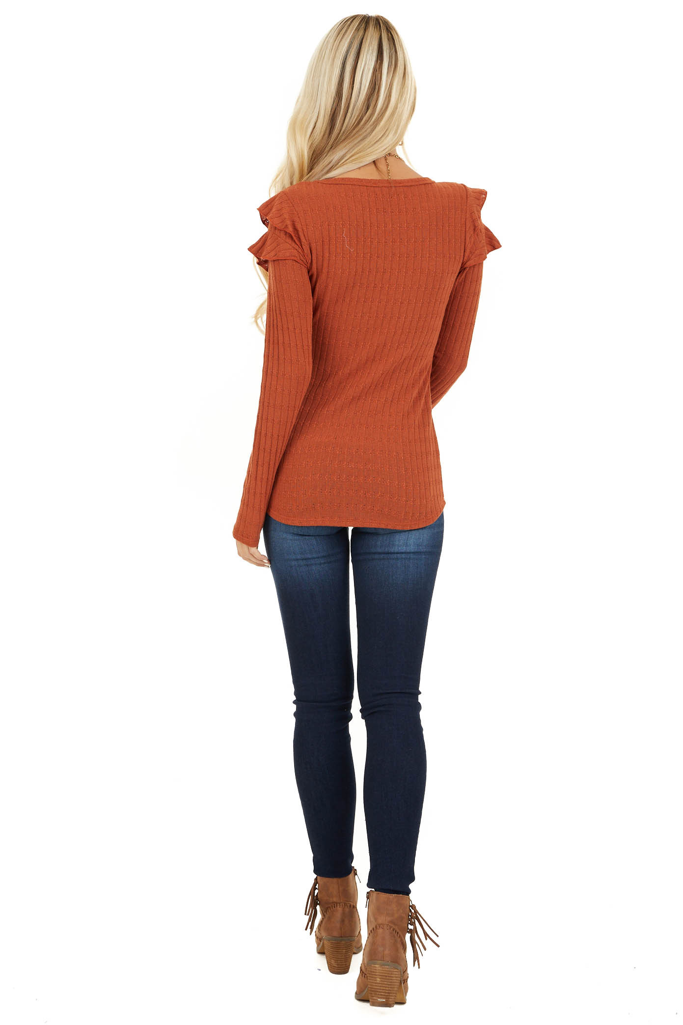 Rust Textured Knit Top with Long Sleeves and Ruffle Details back full body
