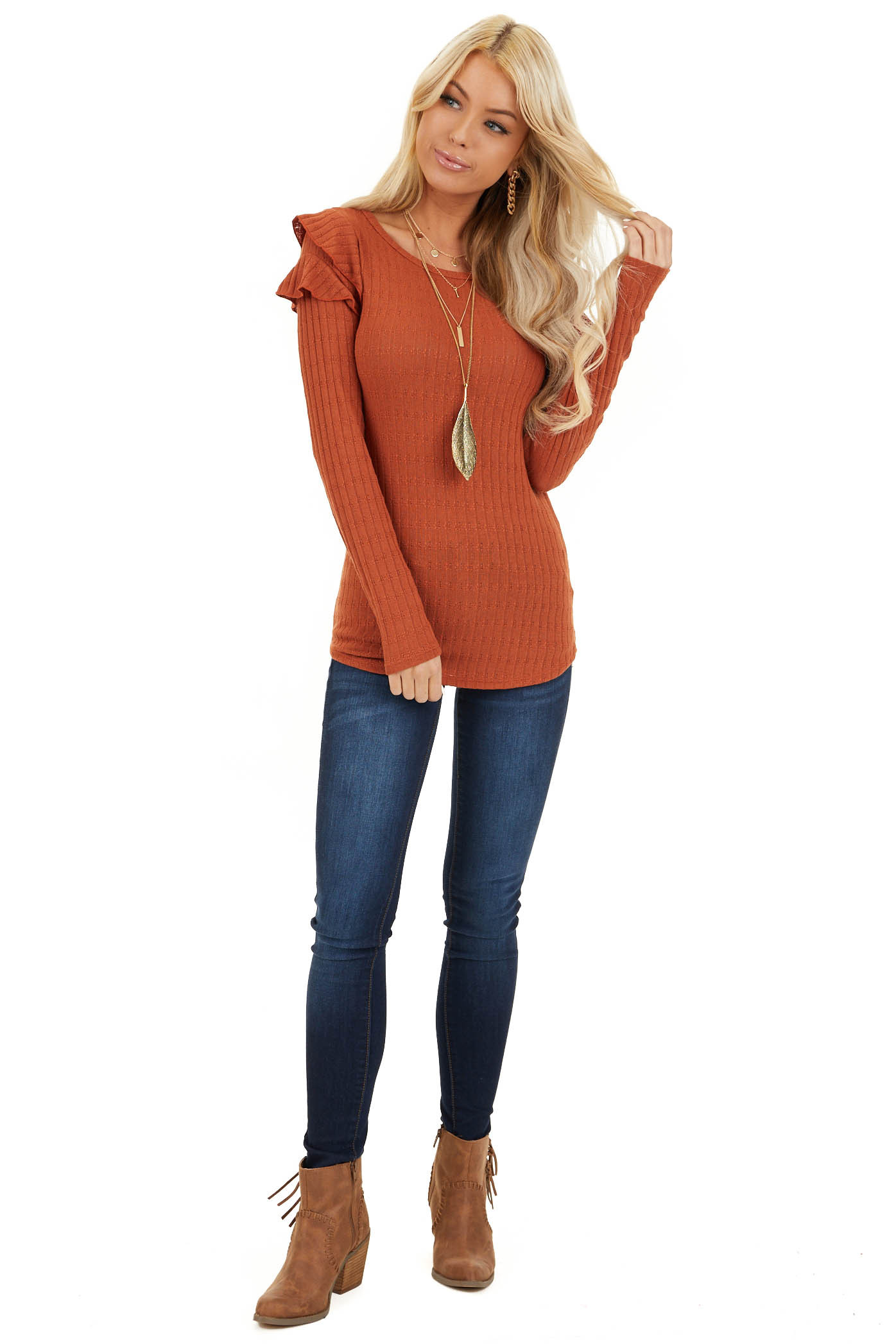 Rust Textured Knit Top with Long Sleeves and Ruffle Details front full body
