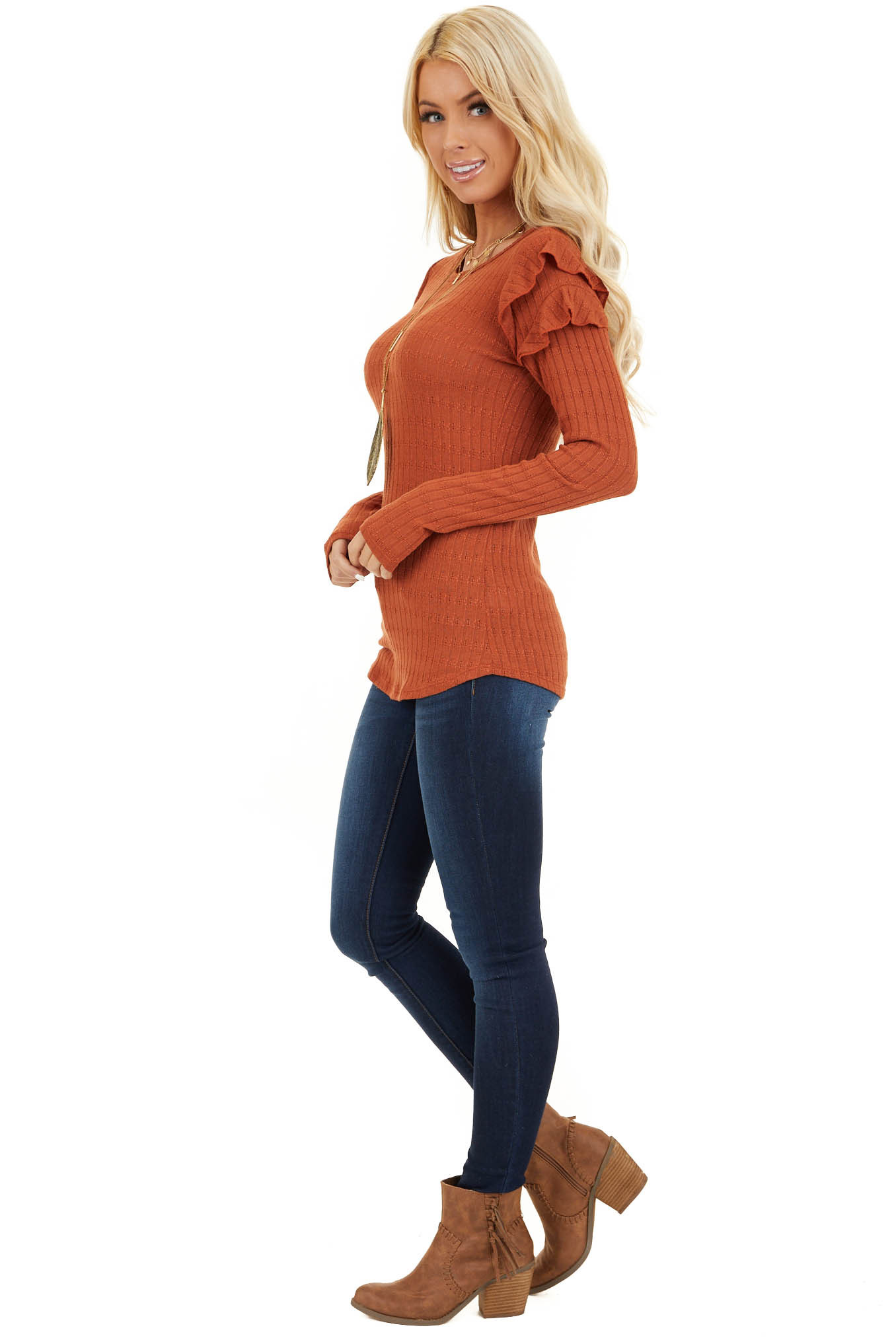 Rust Textured Knit Top with Long Sleeves and Ruffle Details side full body
