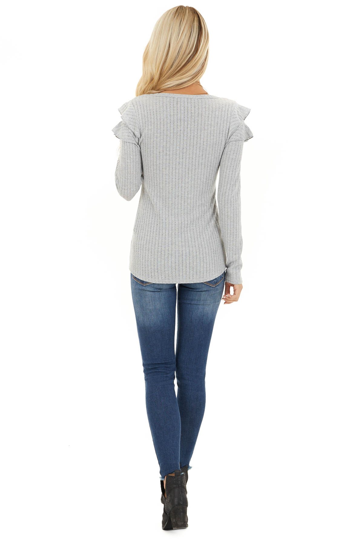 Soft Grey Knit Top with Long Sleeves and Ruffle Details back full body