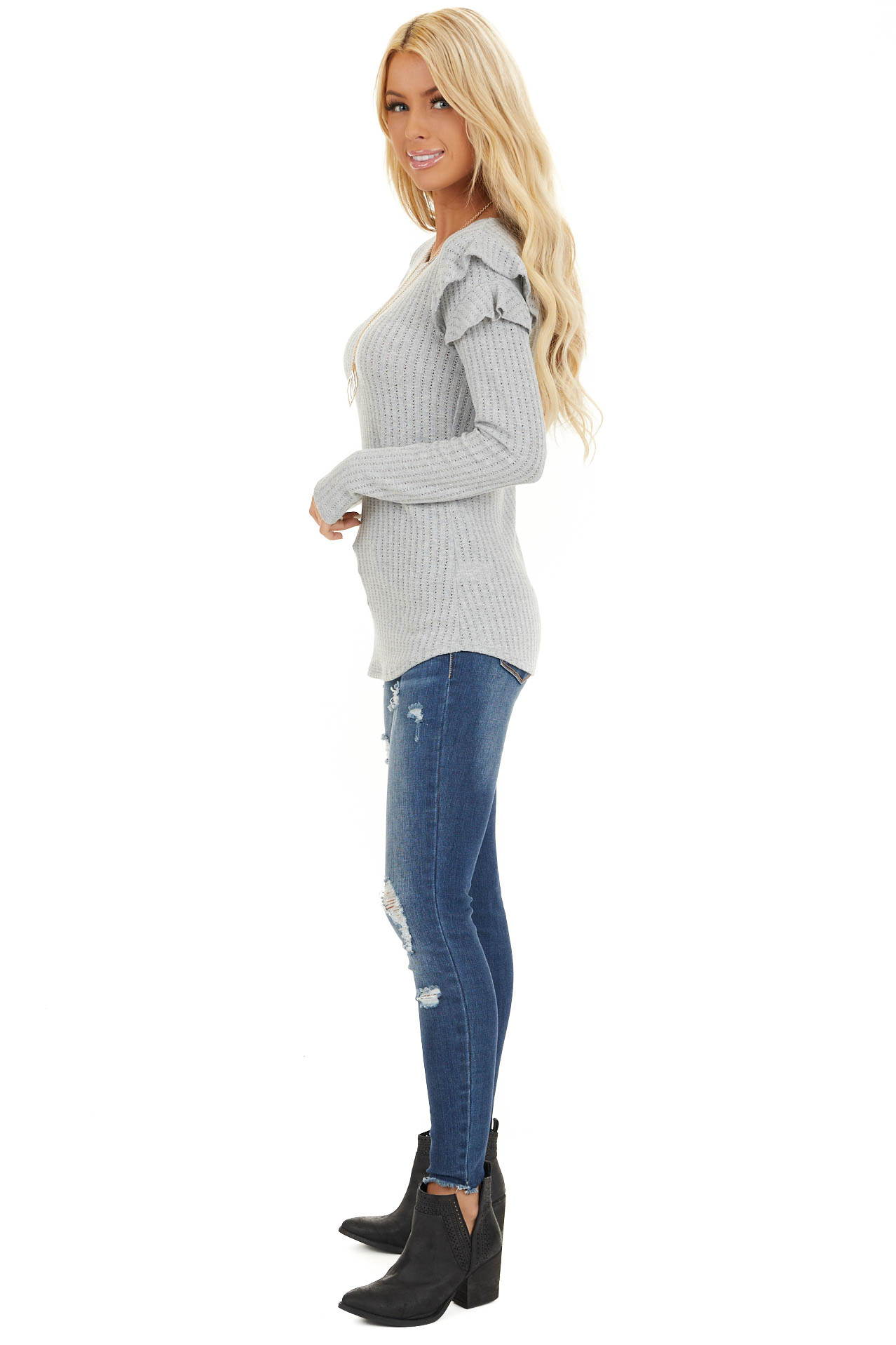 Soft Grey Knit Top with Long Sleeves and Ruffle Details side full body