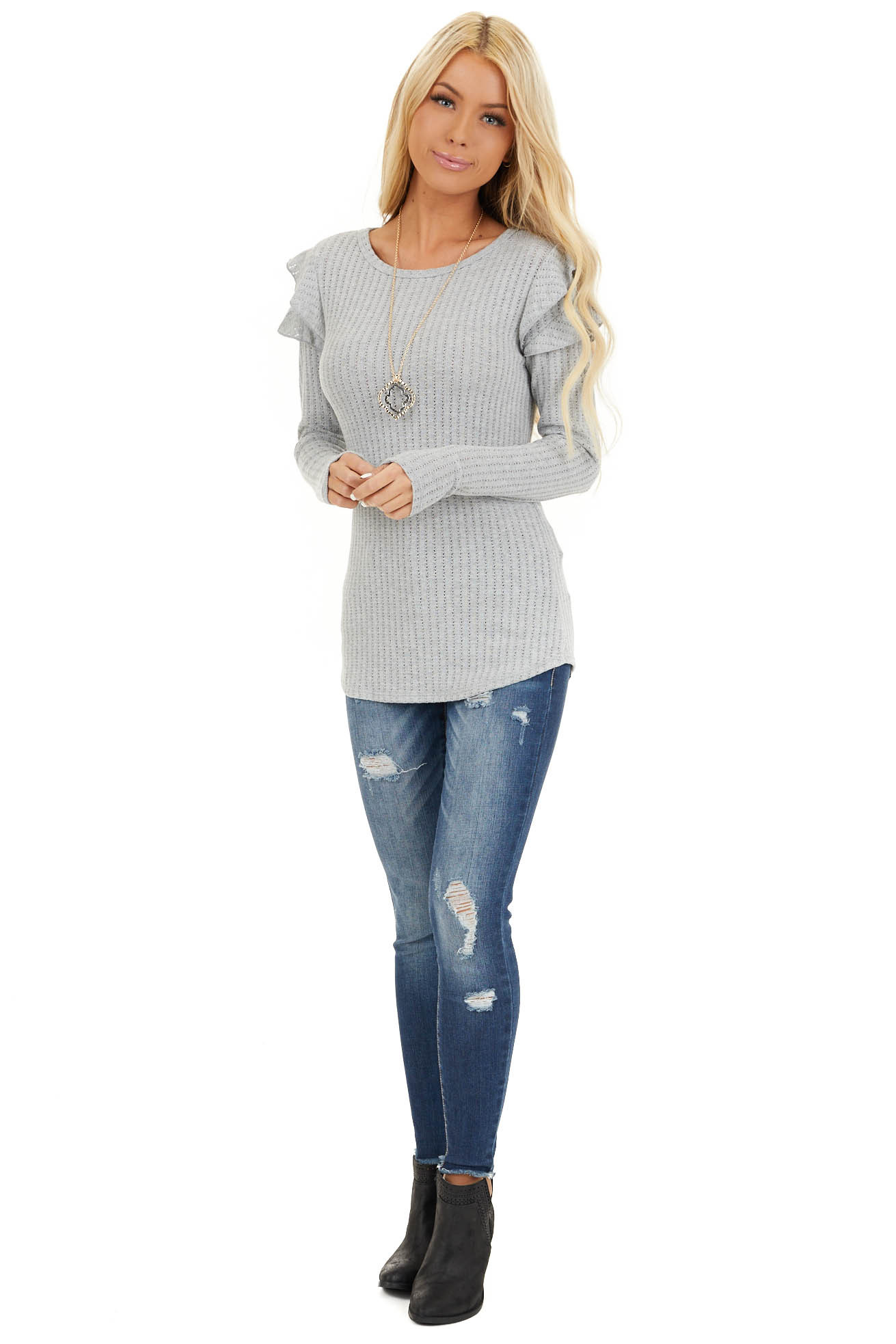 Soft Grey Knit Top with Long Sleeves and Ruffle Details front full body