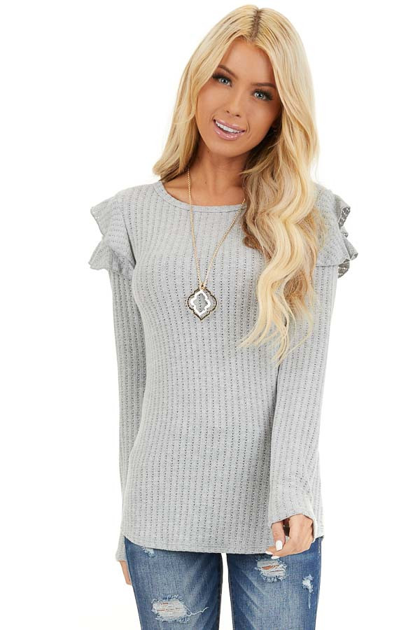 Soft Grey Knit Top with Long Sleeves and Ruffle Details front close up