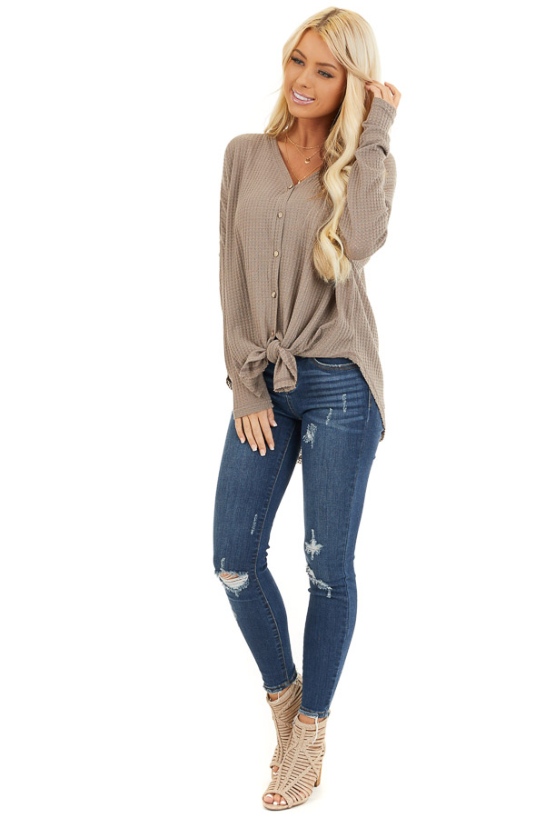 Mocha Waffle Knit Button Up Long Sleeve Top with Front Tie front full body