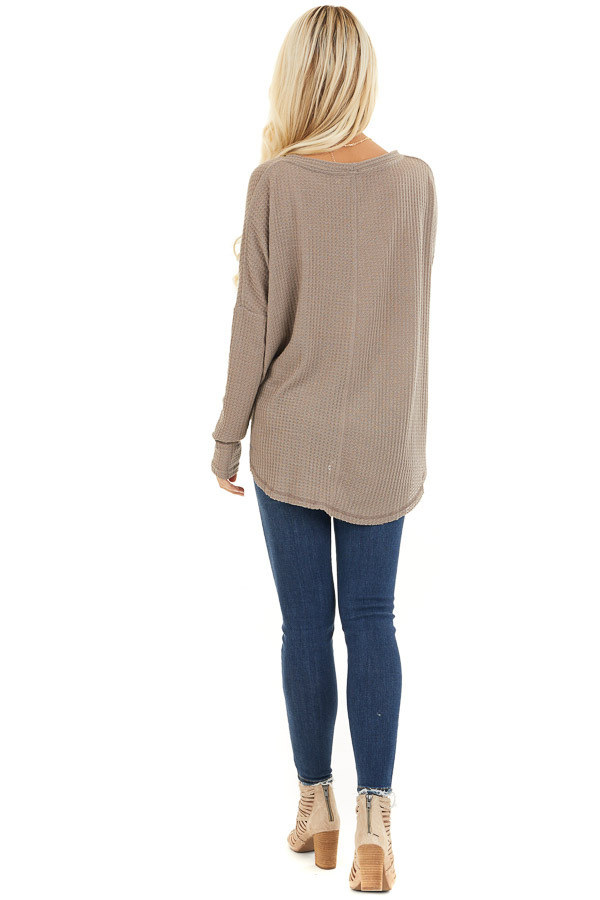 Mocha Waffle Knit Button Up Long Sleeve Top with Front Tie back full body