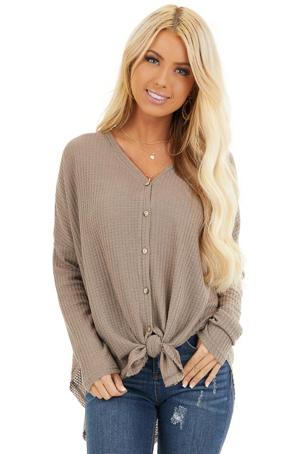 Mocha Waffle Knit Button Up Long Sleeve Top with Front Tie front close up