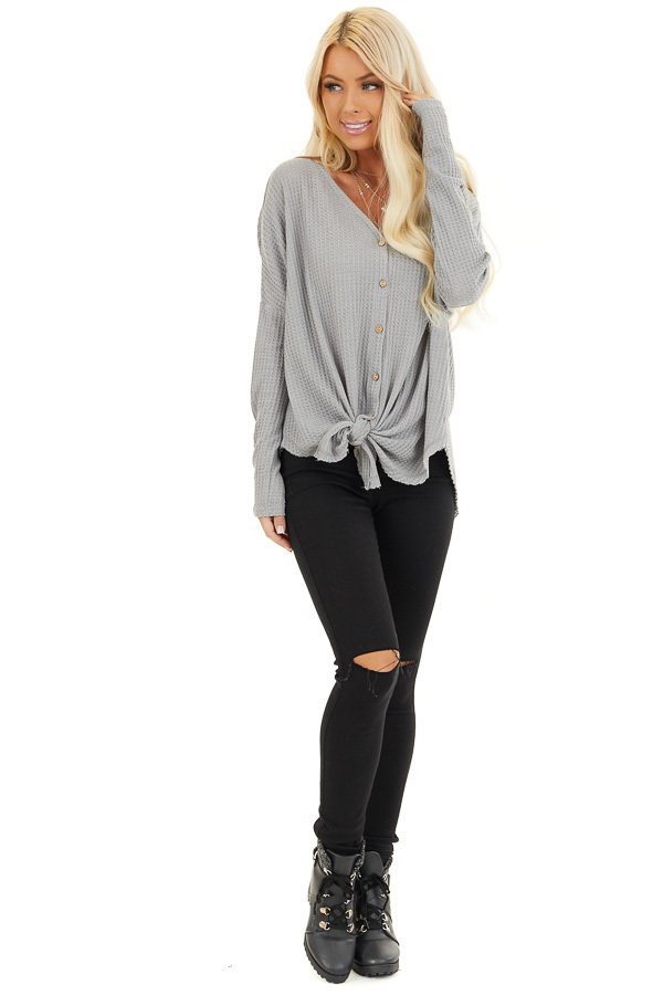Grey Waffle Knit Button Up Long Sleeve Top with Front Tie front full body
