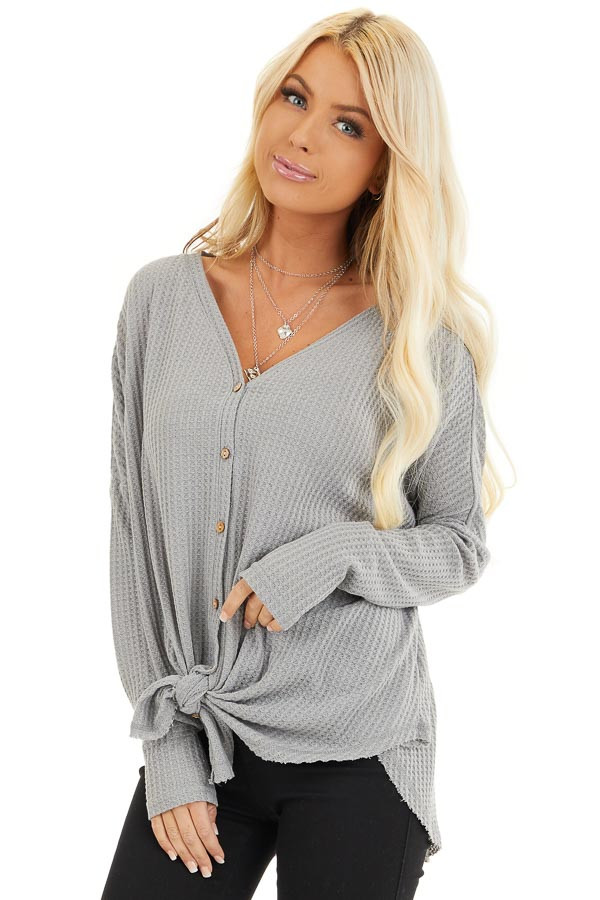 Grey Waffle Knit Button Up Long Sleeve Top with Front Tie front close up
