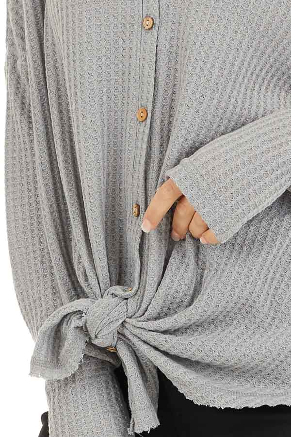 Grey Waffle Knit Button Up Long Sleeve Top with Front Tie detail