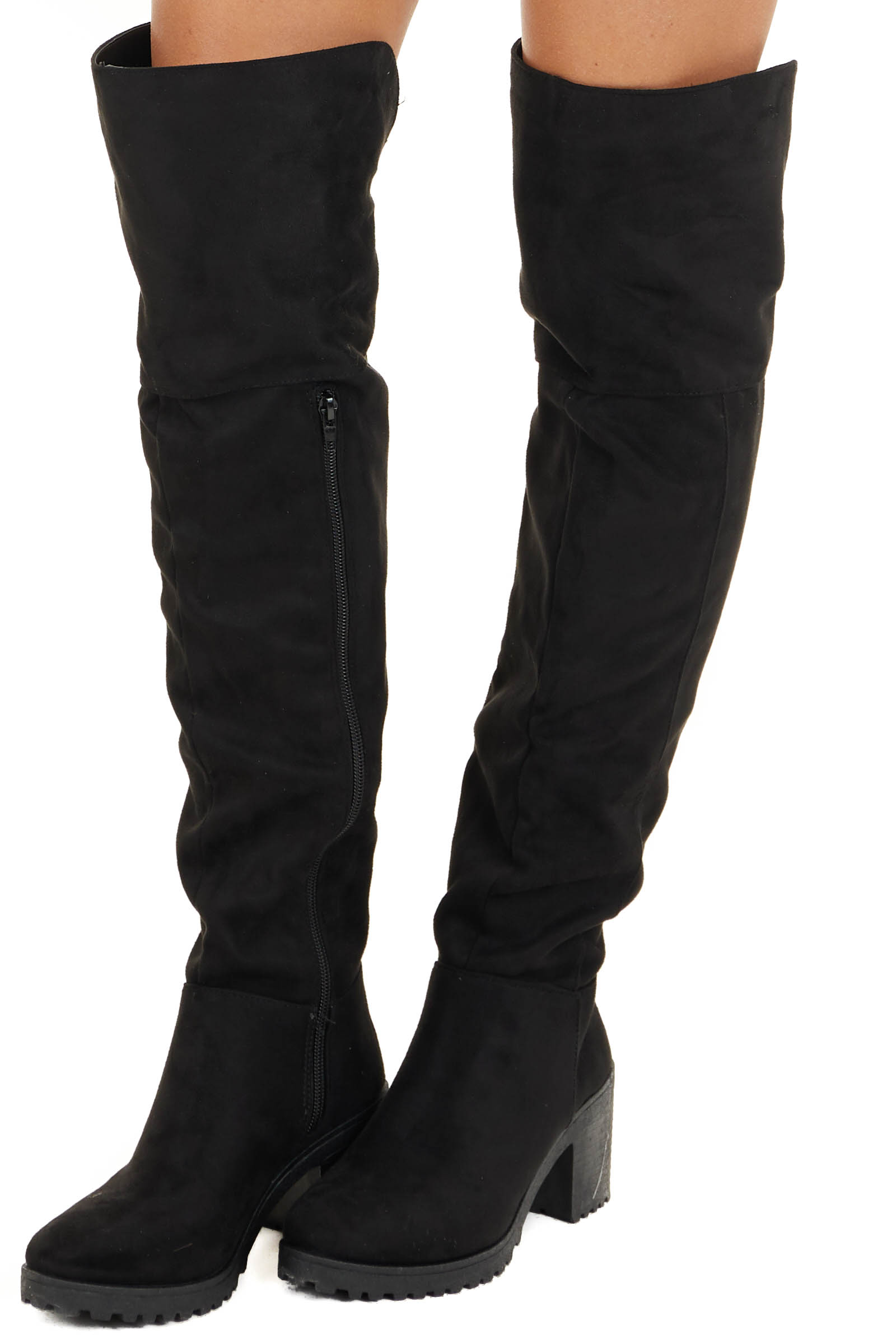 Black Faux Suede Knee High Chunky