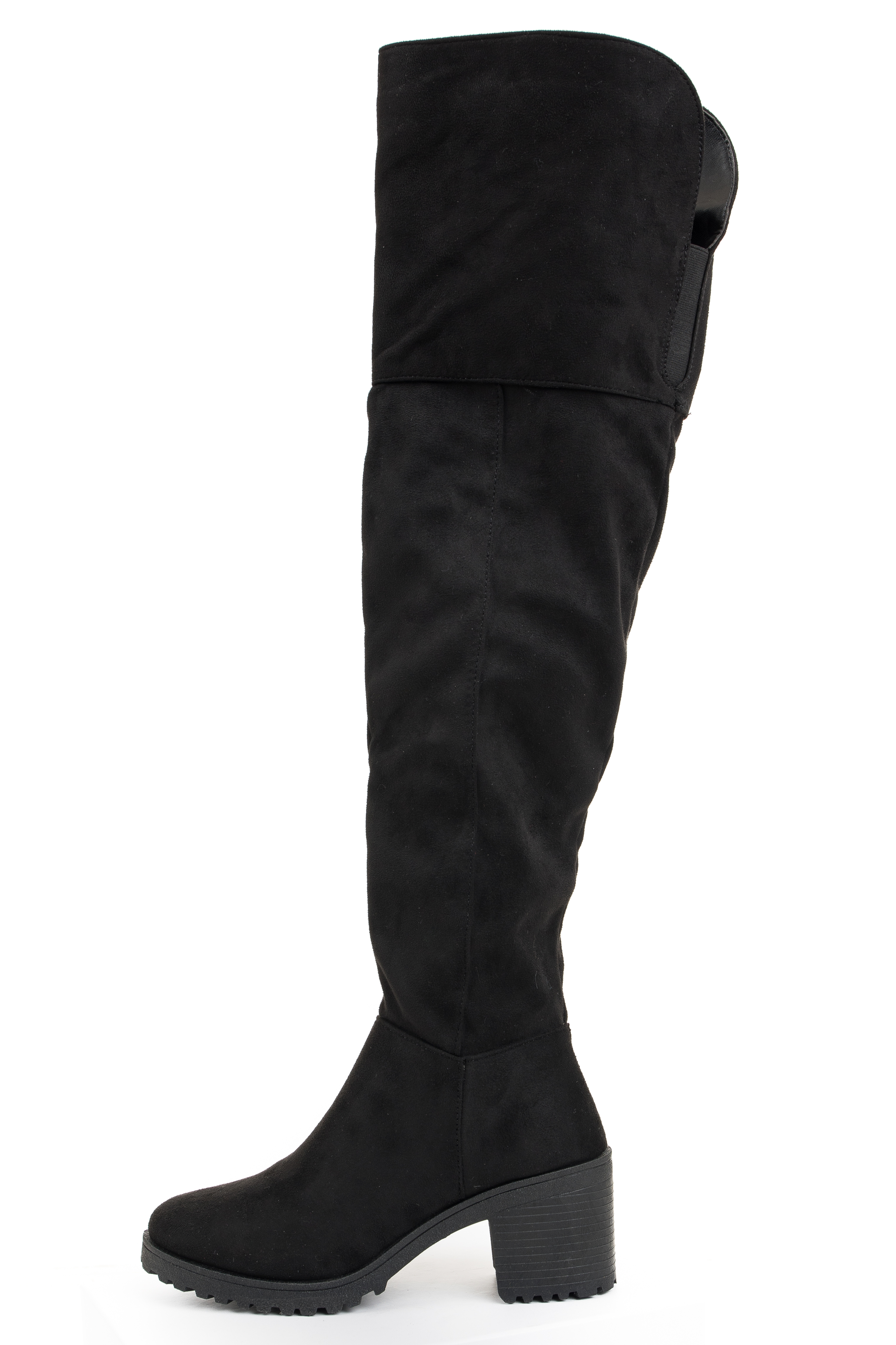 Black Faux Suede Knee High Chunky Heeled Boots