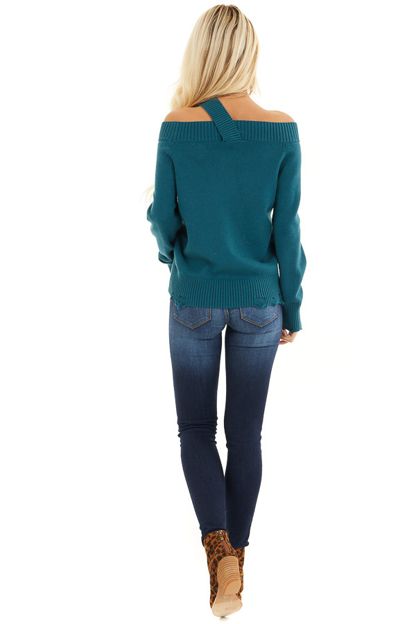 Teal Off the Shoulder Sweater Top with Single Strap Detail back full body