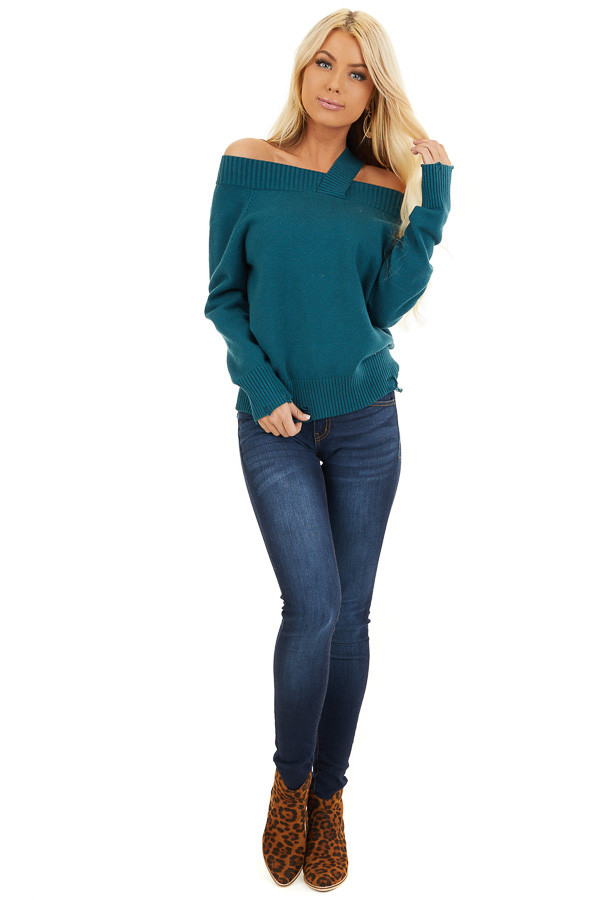 Teal Off the Shoulder Sweater Top with Single Strap Detail front full body