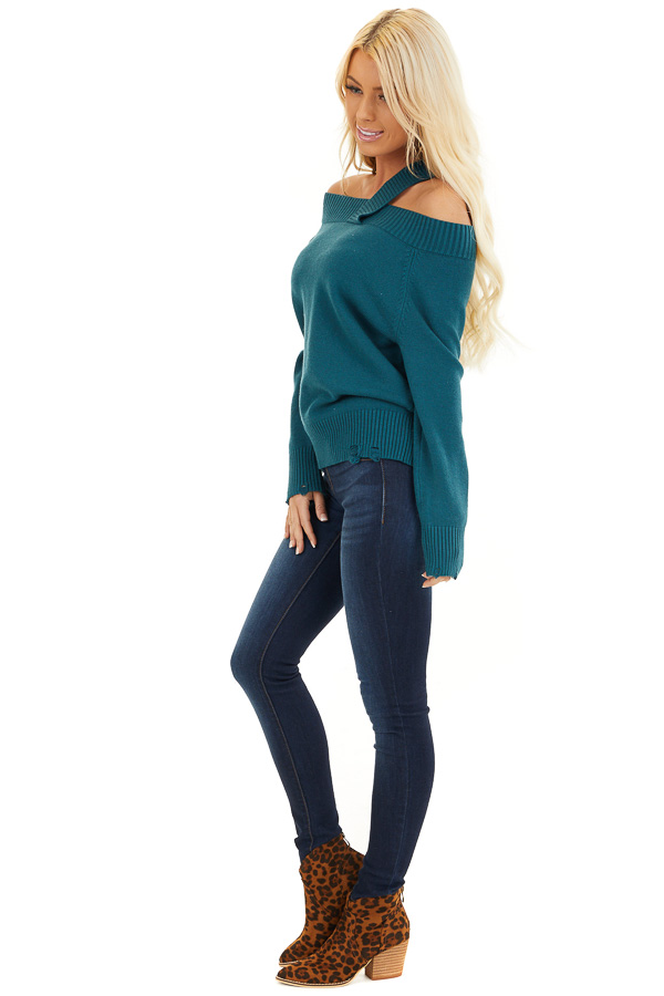 Teal Off the Shoulder Sweater Top with Single Strap Detail side full body