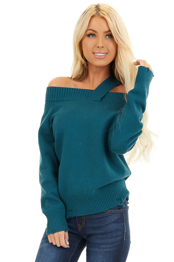Teal Off the Shoulder Sweater Top with Single Strap Detail front close up