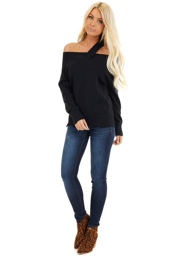 Black Off the Shoulder Sweater Top with Single Strap Detail front full body
