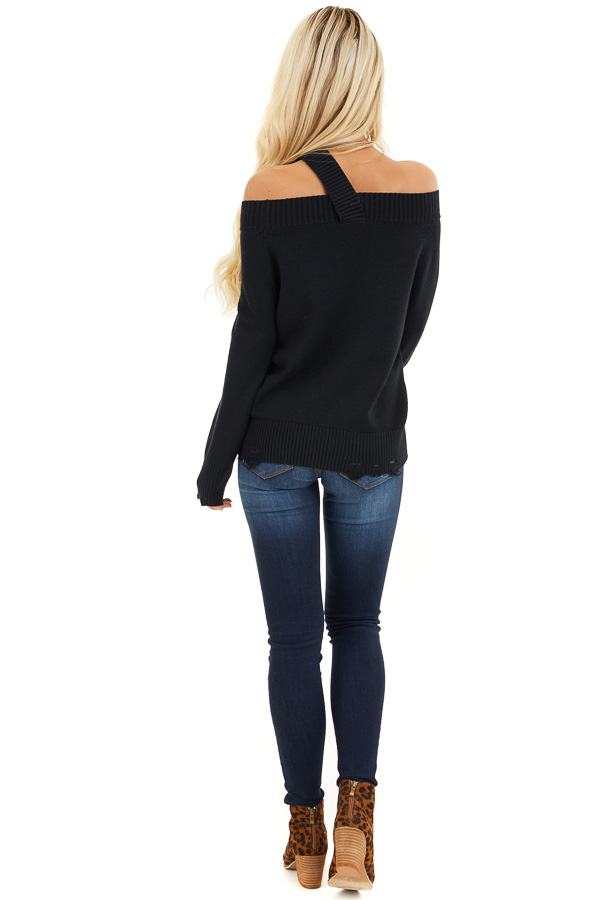 Black Off the Shoulder Sweater Top with Single Strap Detail back full body