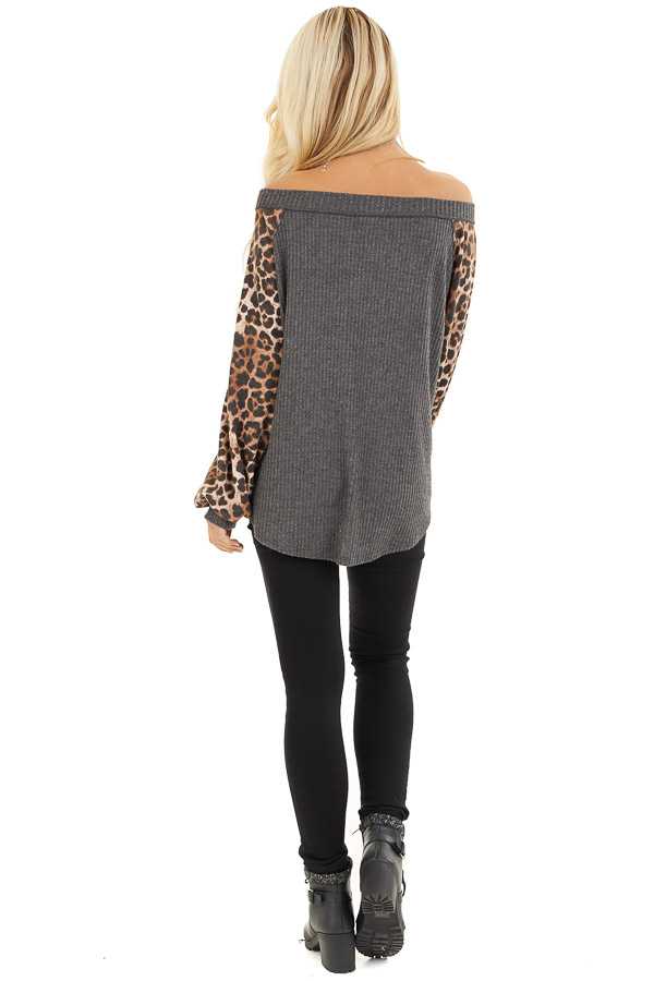 Charcoal Waffle Knit Top with Leopard Print Long Sleeves back full body