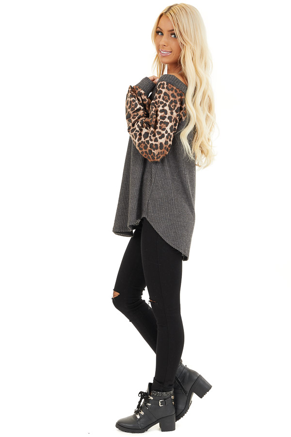 Charcoal Waffle Knit Top with Leopard Print Long Sleeves side full body