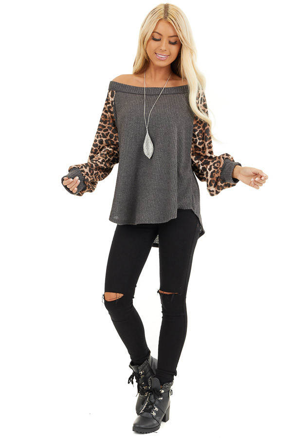 Charcoal Waffle Knit Top with Leopard Print Long Sleeves front full body