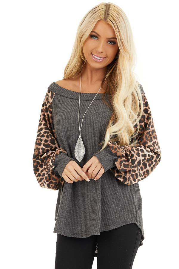 Charcoal Waffle Knit Top with Leopard Print Long Sleeves front close up