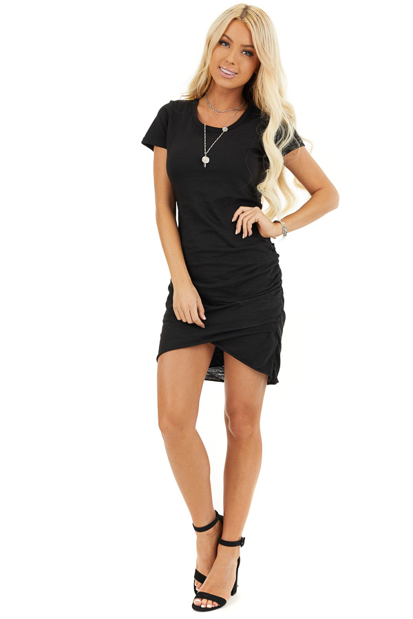 Black Short Sleeve Mini Dress with Side Gather Detail front full body