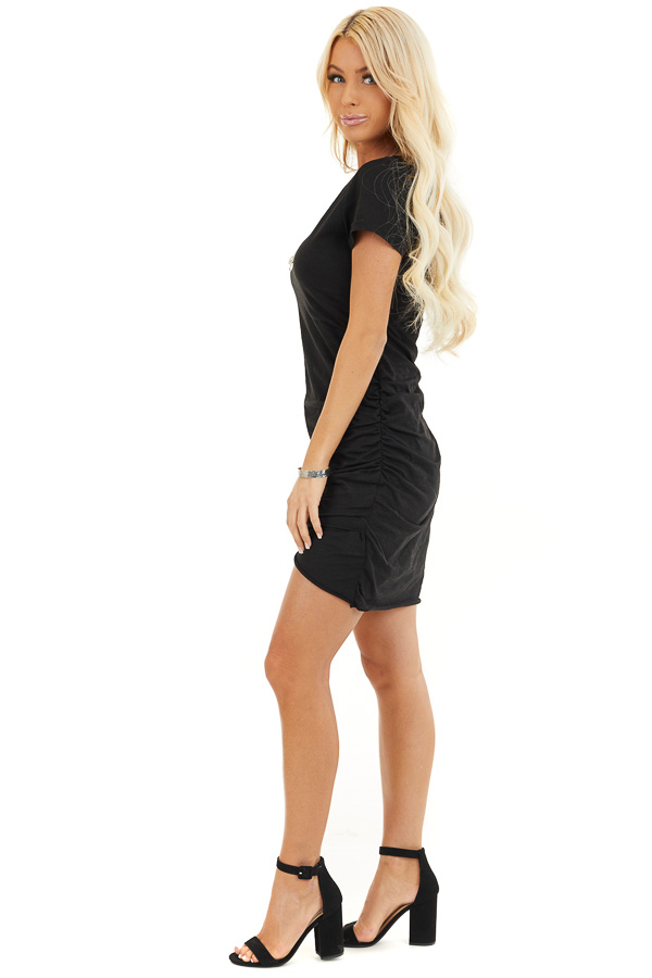 Black Short Sleeve Mini Dress with Side Gather Detail side full body