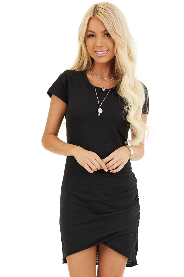 Black Short Sleeve Mini Dress with Side Gather Detail front close up
