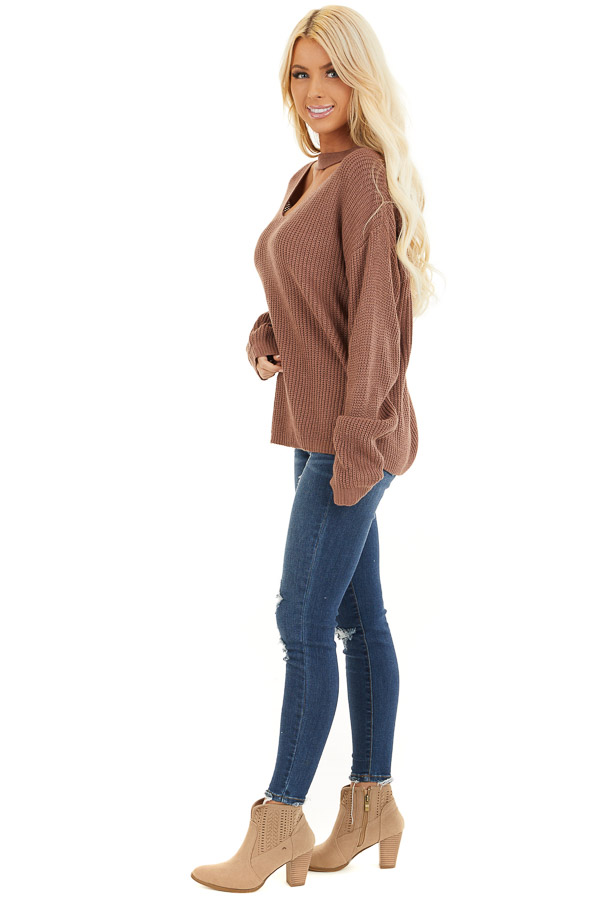 Mocha Knit Sweater with Front Cutout Detail side full body
