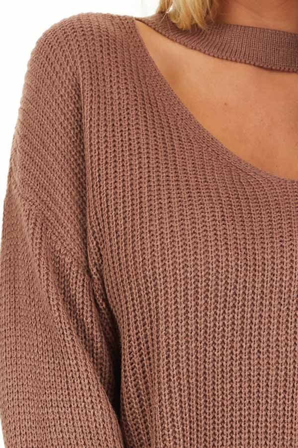Mocha Knit Sweater with Front Cutout Detail detail