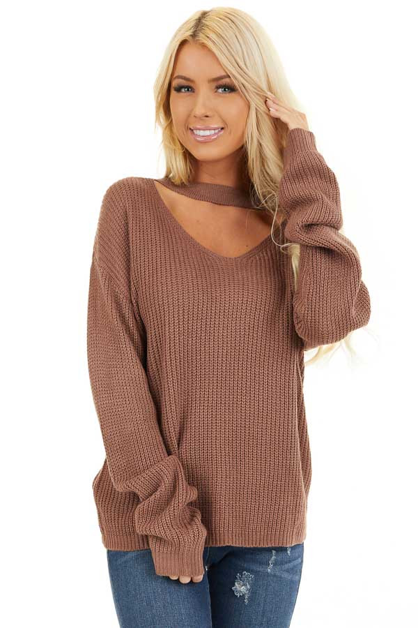 Mocha Knit Sweater with Front Cutout Detail front close up