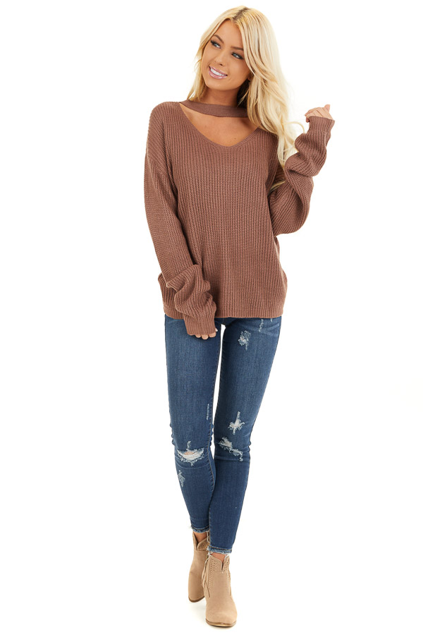 Mocha Knit Sweater with Front Cutout Detail front full body