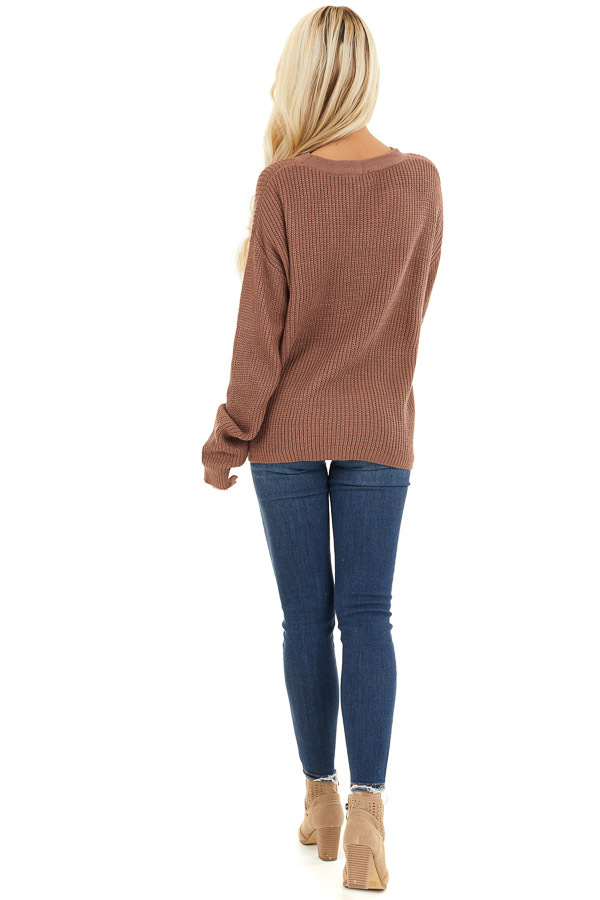 Mocha Knit Sweater with Front Cutout Detail back full body