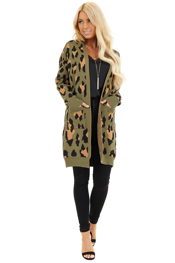 Olive and Tan Leopard Print Open Front Cardigan with Pockets front full body