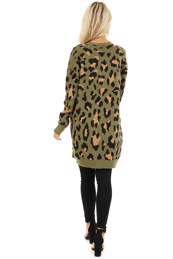 Olive and Tan Leopard Print Open Front Cardigan with Pockets back full body