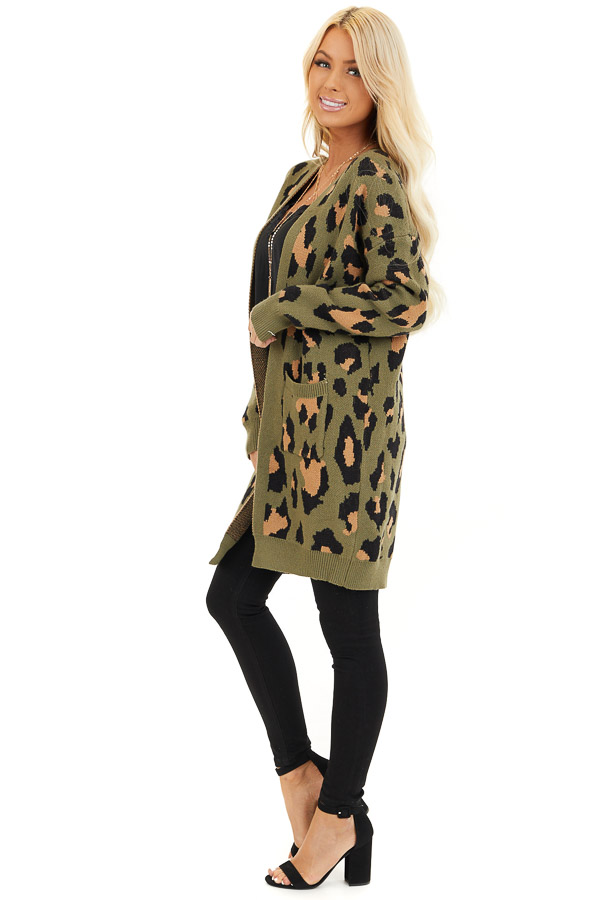 Olive and Tan Leopard Print Open Front Cardigan with Pockets side full body