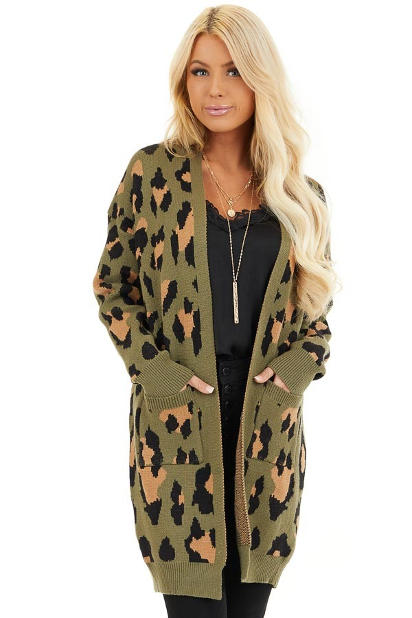 Olive and Tan Leopard Print Open Front Cardigan with Pockets front close up