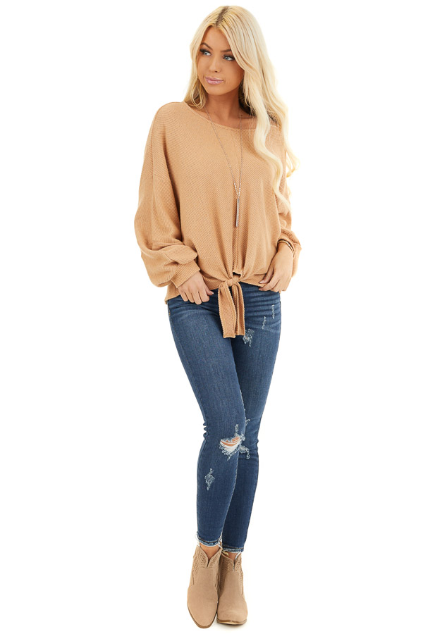 Desert Sand Ribbed Top with Front Tie and Bubble Sleeves front full body